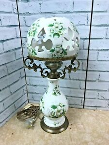 """Large Ceramic Electric Oil Style Table Lamp White w Green White Flowers 23"""" Tall"""