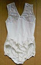 NWOT White Fringed leotard Hologram Spangles Small child leotard dance costume