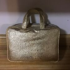 Sonia Kashuk Makeup Bag Gold Glitter Large Weekender Travel Bag 3 Pieces New