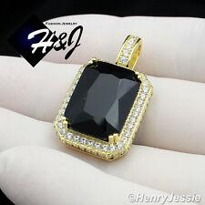 925 STERLING SILVER LAB DIAMOND ICED BLING HIP HOP BLACK ONYX GOLD PENDANT*SP101