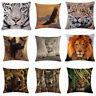 Animal Tiger Linen Waist Pillow Case Back Throw Cushion Cover Sofa Decorative