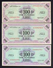 New listing Italy P-M21. Allied Military Currency. 1943-A 100 Lire x 3. A,B & C Suffixes