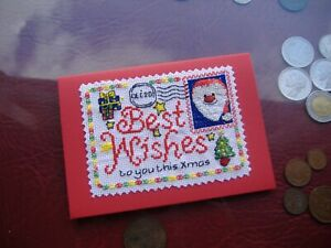 Completed cross stitch Hand made card Postcard santa stamp