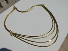 VTG. RETRO SHINY YELLOW GOLD TONE BOX LINK ARTICULATED CHAINS TORSADE NECKLACE