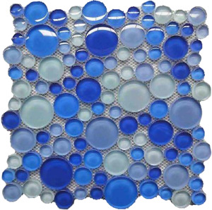 Blue Aqua Circles Glass Backsplash Mosaic for pool,kitchen,bathroom.Decor.Trend