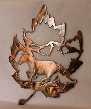Galloping Horse Running in Mountains Leaf Shaped Wall Sign Plasma Cut Metal Art