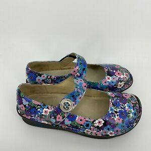 Alegria Shoes Size 39 Womens 9 Blue Pink Paloma Leather Mary Jane Floral Print