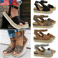 Womens Ankle Strap Buckle Sandals Ladies Wedge Platform Heels Summer Shoes Size