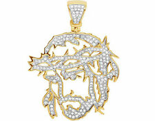 Men's 10K Yellow Gold Cutout Jesus Face Genuine Diamond Pendant 3/4 CT 1.7""