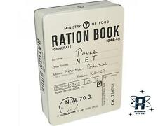 VINTAGE RETRO STYLE RATION BOOK RECTANGULAR TIN STORAGE CONTAINER