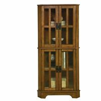 Coaster 4 Shelf Corner Curio Cabinet Oak Cabinets in Warm Brown