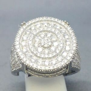 14K White Gold Over Round Diamond Men's Wedding Engagement Pinky Ring Band 3.Ct