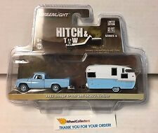 Greenlight * Hitch & Tow 6 * 1963 Dodge D-100 Light Blue & Shasta Airflyte