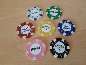POKER CHIP MARKER CALLAWAY, MIZUNO, PING, TAYLORMADE  IN TEN COLOURS