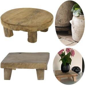 Mini Teak-Holz Deko Tisch Blumenständer Pflanzenhocker Beistelltisch Untersetzer