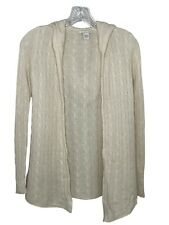 White + Warren small sweater 100% cashmere cardigan hoodie white cable knit