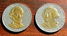 Washington & Lincoln Double Eagle Medals / Lot of 2 / Gold Plated Details