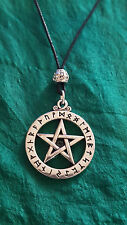 Rune Pentagram Pentacle Pendant Tieable Necklace Cord Beaded. See Pictures.   c7