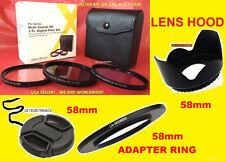 RING ADAPTER+ FILTER KIT+HOOD+LENS CAP 58mm 4> CAMERA FUJI FINEPIX S8600 58 mm