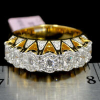 Round Cut 3D Unisex Yellow Gold Tone Real Sterling Silver Wedding Ring Band 8mm