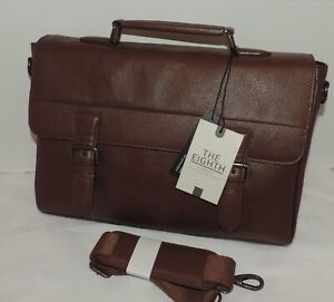 NEW The Eighth TAN LEATHER Satchel Bag w/Clasp Close, Shoulder Strap - RRP £140