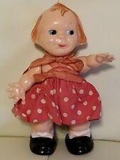 Vintage Hard Plastic Jointed Baby Doll Eyes Move Red Polka Dot Dress