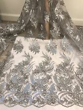 """GRAY SILVER CORED  EMBROIDERY SEQUINS MESH LACE FABRIC 52"""" WIDE 1 YARD"""