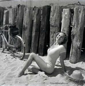 Bunny Yeager Pinup Camera Negative Marcia Valibus 1954 Bicycle Beach Cruiser NR