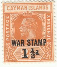 CAYMAN ISLANDS 1919 1½d on 2½d ORANGE KGV  WAR TAX MLH