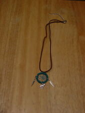 DREAMCATCHER INDIAN WOLF FEATHER NECKLACE ( TURQUOISE )