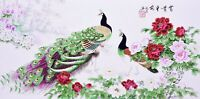 100% ORIGINAL ASIAN FINE ART CHINESE WATERCOLOR PAINTING-Peacock birds lover