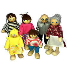 Puppen Biegepuppen Holzbiegepuppen Familie für Puppenhaus 6 tlg Biegepüppchen