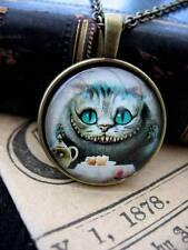 Cheshire Cat Steampunk Necklace Pendant Bronze Alice Wonderland  Fantasy