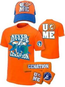 John Cena Kids Orange Costume Hat T-shirt Wristbands Boys