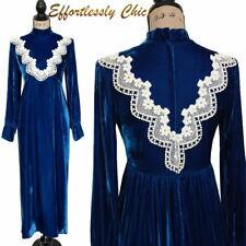 Vtg 70s Hippie Gunne Sax -esque Velvet Maxi dress Crochet Floral Lace EMMA DOMB