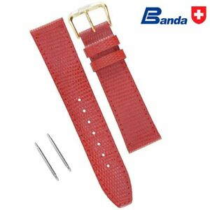 Banda Premium Grade Calfskin Lizard Grain Leather Watch Bands (Sizes 8 - 22mm)