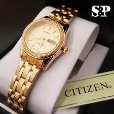 New Women's Citizen 18K Gold PT Luxury Metal Band Day & Date Dress Wrist Watch