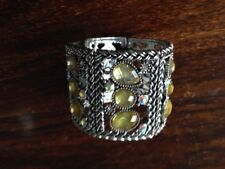 Silver Cuff Bracelet/Bangle with Pale Yellow Diamantes Accessorize Monsoon