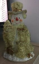 Brand New Gold Color Christmas Snowman Candle Home Decoration