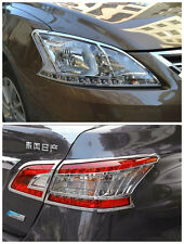 ABS Chrome Head And Rear Light Lamp Cover Trim For Nissan Sentra 2013 2014 2014+