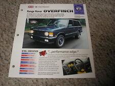 UK 1990-Present RANGE ROVER Overfinch Hot Haulers 6 # 31 Spec Sheet Brochure