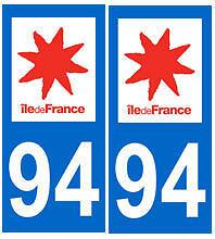 stickers autocollants plaques immatriculation auto Département Val-de-Marne 94