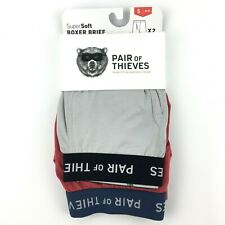 Pair Of Thieves Mens Super Soft Boxer Briefs 2 Pack Small 28-30 Red Gray