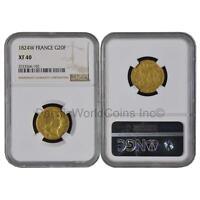 France 1824W 20 Francs Gold NGC XF40 SKU#6275
