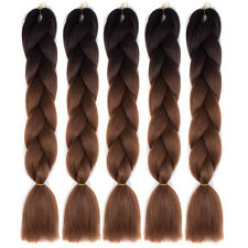 "24"" Black / Dark Brown 5pcs Kanekalon Jumbo Synthetic Braiding Hair Extensions"