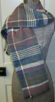 Vintage Muted Plaid Pink Green Blue Wool Blend Scarf