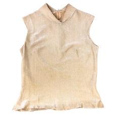 VINTAGE 597ms Mujer Rhoda LEE Diseñador Beis Con Cuello Camiseta Talla 32 (S)