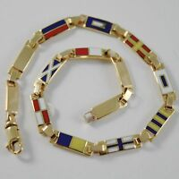 SOLID 18K YELLOW GOLD BRACELET WITH FLAT GLAZED NAUTICAL FLAGS, MADE IN ITALY