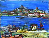 "André TELLIER  - """"marine""  GOUACHE vers 1950/60"