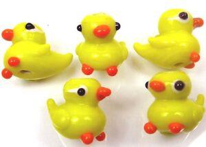 Lampwork Handmade Glass Yellow Duck Beads (5)